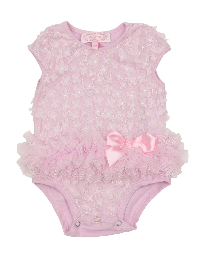 Popatu Baby Tutu Bodysuit Pink Flowers - Popatu pageant and easter petti dress