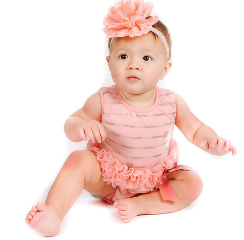 Popatu Baby Tutu Bodysuit Peach Sequin - Popatu pageant and easter petti dress