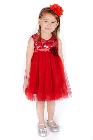 Popatu Baby Girls Red Sequin Tulle Dress - Popatu pageant and easter petti dress