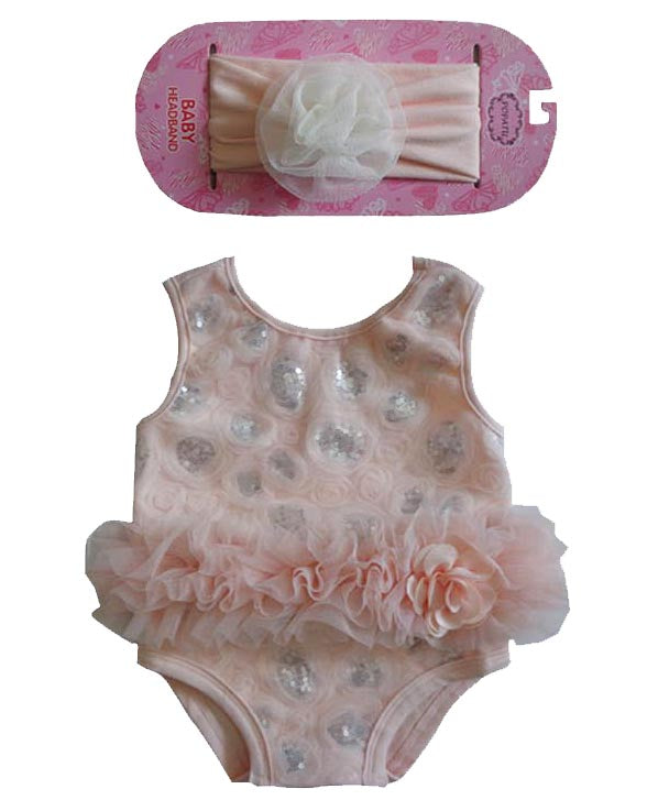 Popatu Baby Rossette Bodysuit & Headband - Popatu pageant and easter petti dress