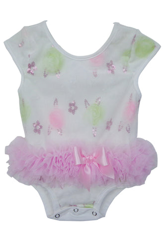 White Flower Baby Ruffle Bodysuit