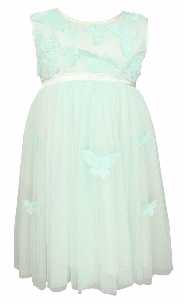Popatu Little Girl Blue Butterfly Tulle Dress - Popatu pageant and easter petti dress