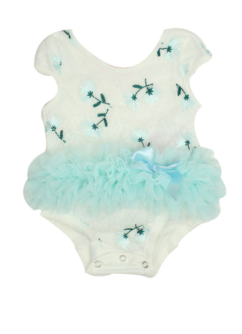 Blue Embroidered Bodysuit with Ruffle Tutu - Popatu pageant and easter petti dress