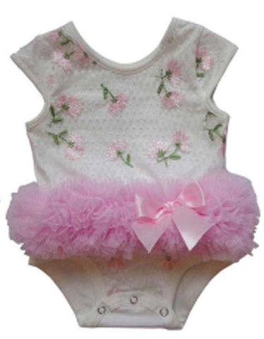 Popatu Baby Tutu Bodysuit Pink Embroidered - Popatu pageant and easter petti dress