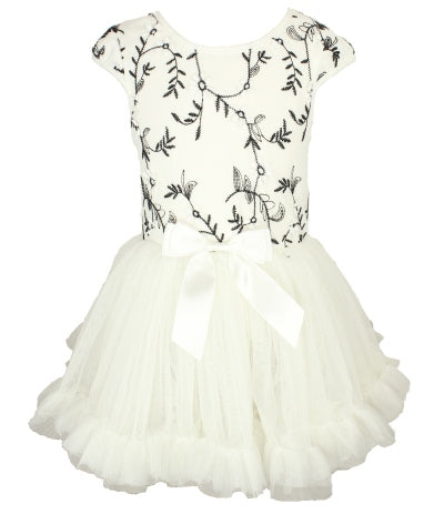 Popatu Little Girls White & Black Embroidered Dress - Popatu pageant and easter petti dress