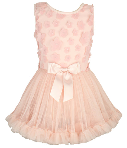 Mini Flower Peach Petti Dress - Popatu pageant and easter petti dress