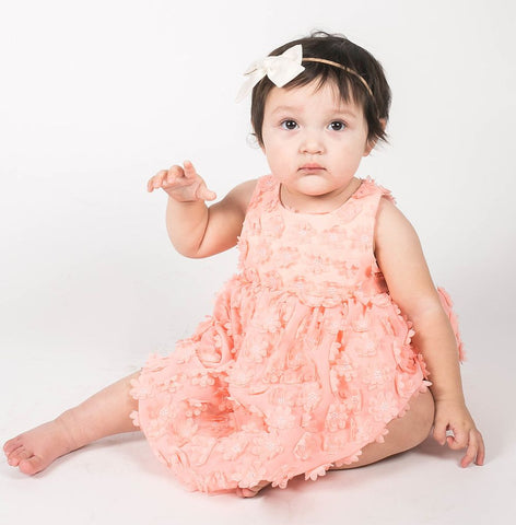 Popatu Little Girls Peach Flower Dress - Popatu pageant and easter petti dress