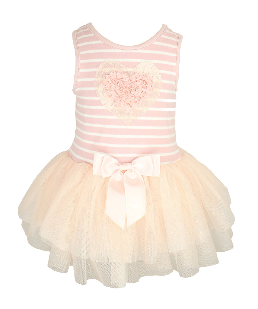 Peach Stripe Ruffle Heart Baby Dress - Popatu pageant and easter petti dress