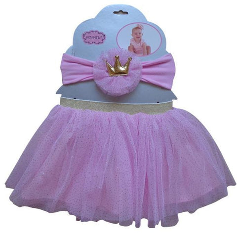 Pink Crown Tutu and Headband Set - Popatu pageant and easter petti dress