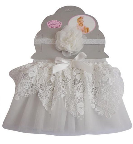 White Lace Tutu and Headband Set - Popatu pageant and easter petti dress