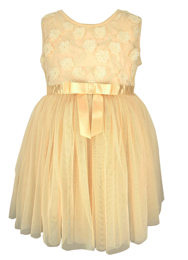 Champagne Mini Flower Baby Dress - Popatu pageant and easter petti dress