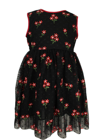 Popatu Little Girls Black & Red Flower Dress - Popatu pageant and easter petti dress