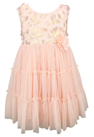 Butterfly Light Peach Baby Dress - Popatu pageant and easter petti dress