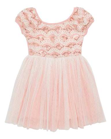 Peach Tulle Dress with Sequins - Popatu pageant and easter petti dress