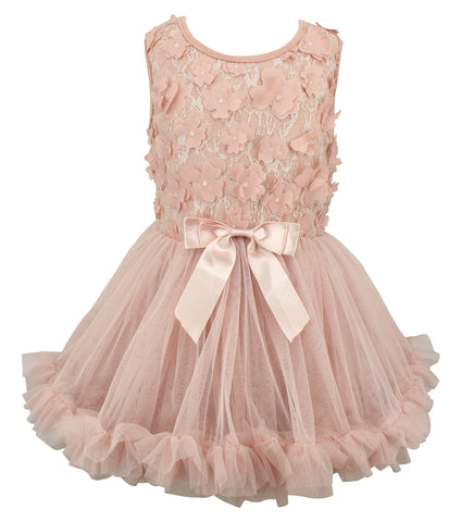 Popatu Blush Flower Petal Petti Dress - Popatu pageant and easter petti dress