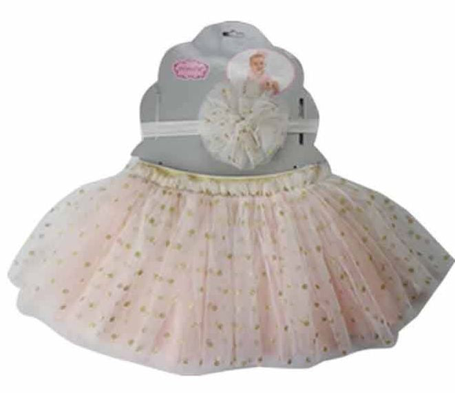 Peach Dot Tutu and Headband Set - Popatu pageant and easter petti dress