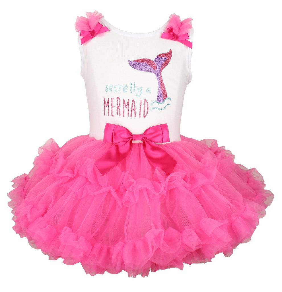 Popatu Baby Girls Secretly a Mermaid  Ruffle Dress - Popatu pageant and easter petti dress
