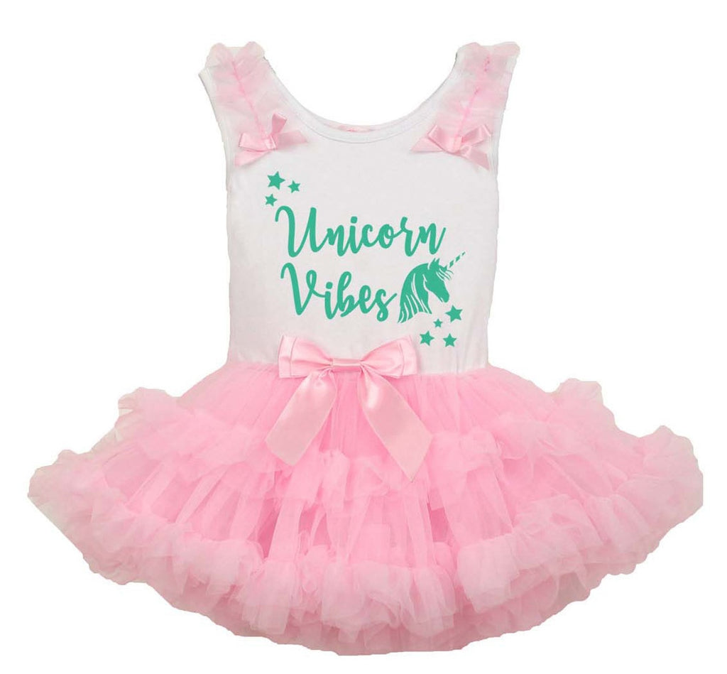 Popatu Baby Girls Unicorn Vibes Ruffle Dress - Popatu pageant and easter petti dress
