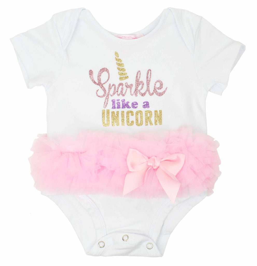 Popatu Baby Tutu Bodysuit Sparkle Unicorn - Popatu pageant and easter petti dress