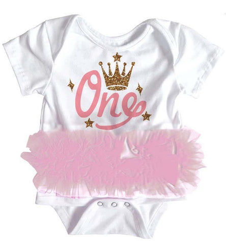 Popatu Baby Tutu Bodysuit One Crown - Popatu pageant and easter petti dress