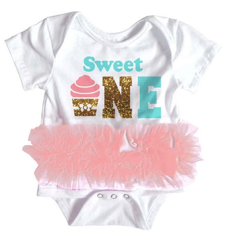 Popatu Baby Tutu Bodysuit Sweet One - Popatu pageant and easter petti dress