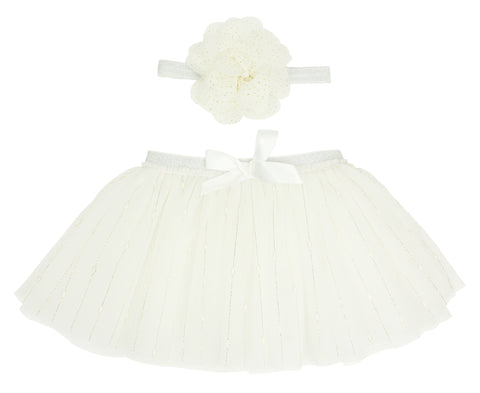 White Tutu and Headband Set - Popatu pageant and easter petti dress