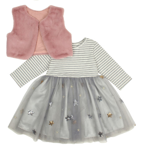 Popatu Little Girls Grey Stripe Dress With Shrug