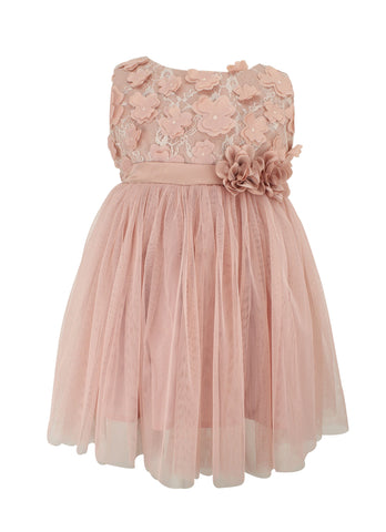 Dusty Rose Mini Flower Tulle Dress - Popatu pageant and easter petti dress