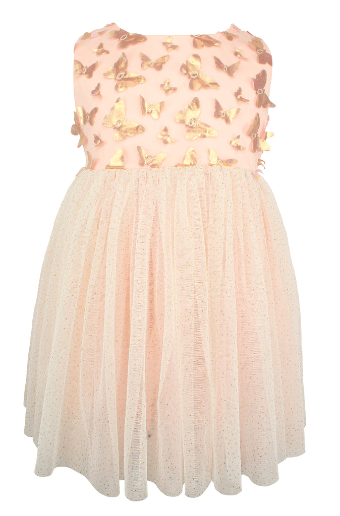 Popatu Little Girls Golden Butterfly Dress - Popatu pageant and easter petti dress