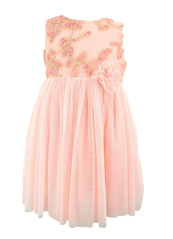 Popatu Peach EmBroidered Dress - Popatu pageant and easter petti dress