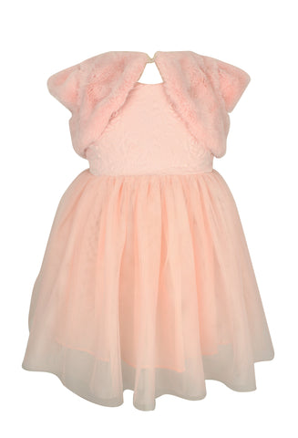 Pink Baby Dress with Faux Fur Vest - Popatu pageant and easter petti dress