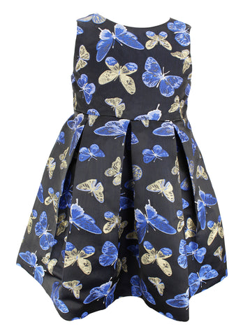 Blue and Gold Butterfly Dress - Popatu pageant and easter petti dress