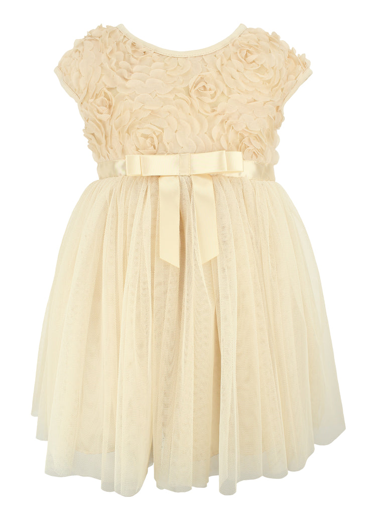 Popatu Rosette Ivory Tulle Dress - Popatu pageant and easter petti dress