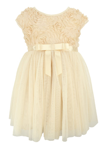Popatu Little Girl Rosette Ivory Tulle Dress - Popatu pageant and easter petti dress