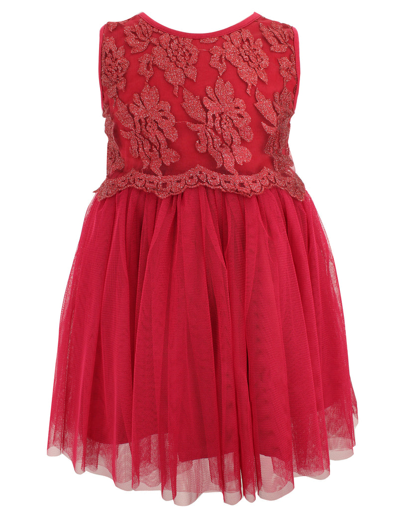 Burgundy Lace Tulle Dress - Popatu pageant and easter petti dress