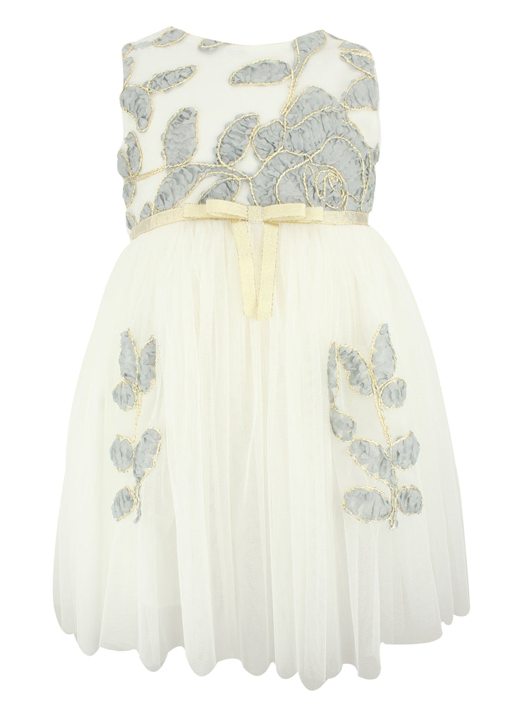 Popatu White/Grey EmBroidered Dress - Popatu pageant and easter petti dress