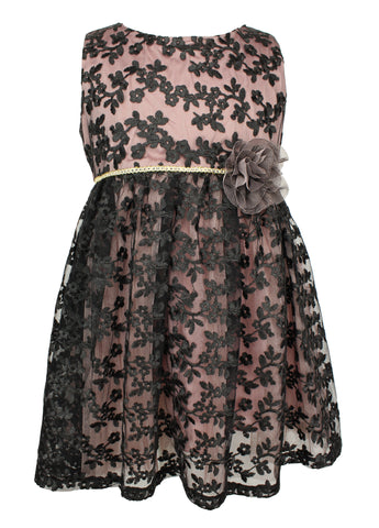 Popatu Little Girl Elegant Black Lace Dress.