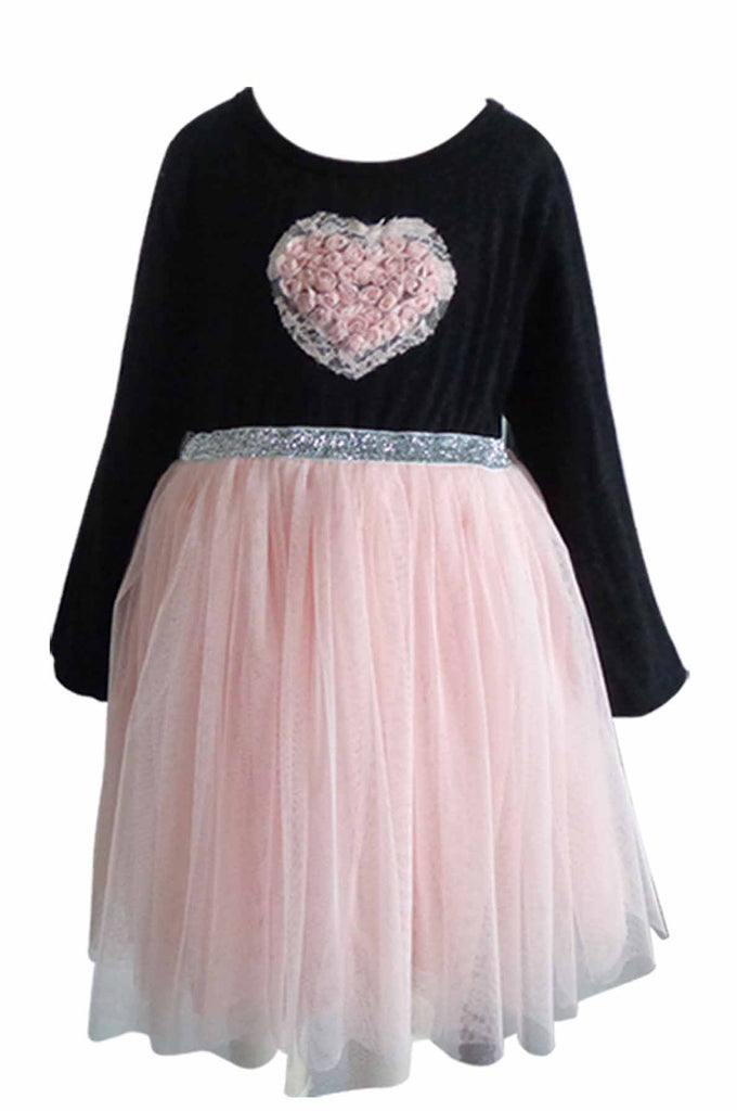 Popatu Baby Heart Long Sleeve Tulle Dress - Popatu pageant and easter petti dress
