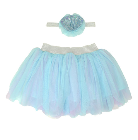 Blue Mermaid Dress-Up Tutu/Headband Set - Popatu pageant and easter petti dress