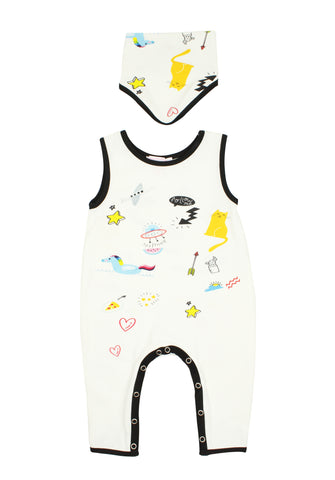 White Baby Bodysuit With Matching Bib - Popatu pageant and easter petti dress