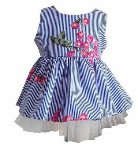 Blue Stripe Baby Dress with Flower Embroidery