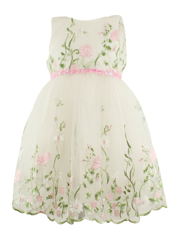 Flower Embroidered Baby Dress - Popatu pageant and easter petti dress