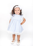 Popatu Baby Girls Blue Stripe Dress - Popatu pageant and easter petti dress