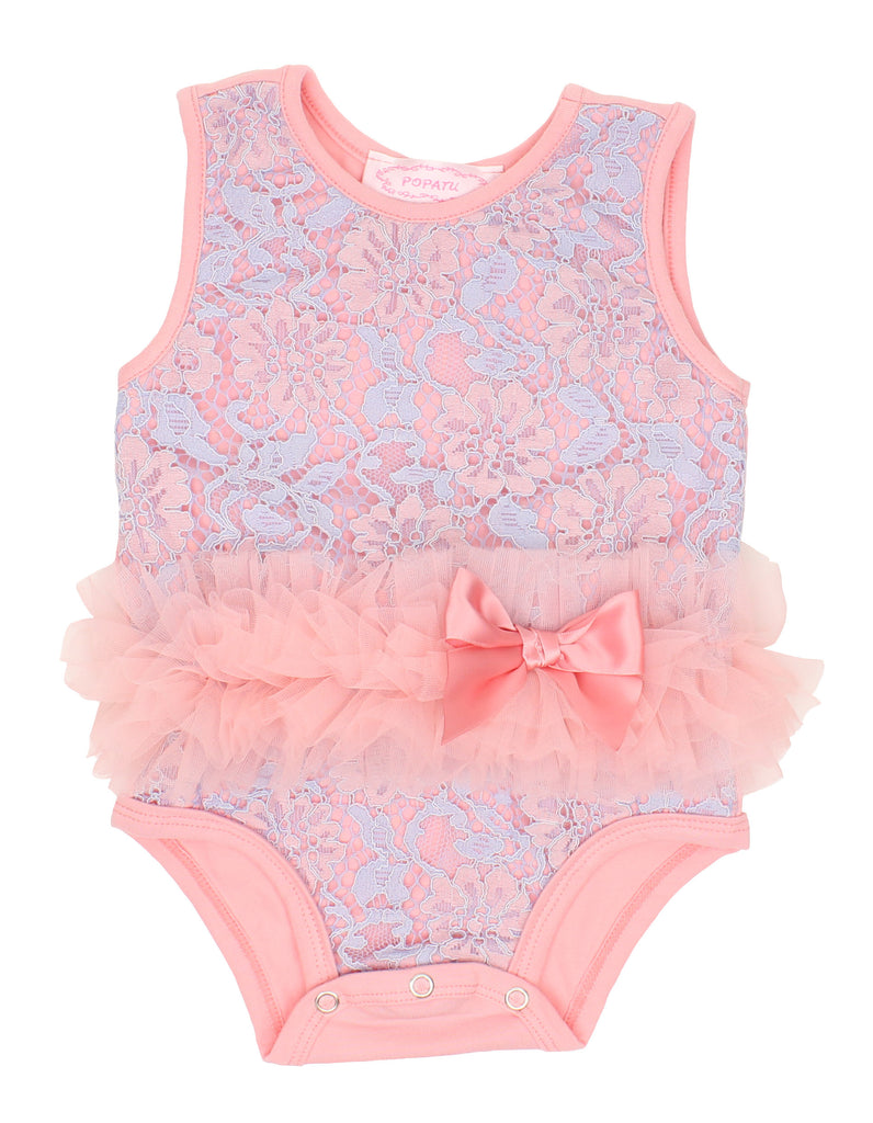 Popatu Baby Lace Ruffle Bodysuit - Popatu pageant and easter petti dress