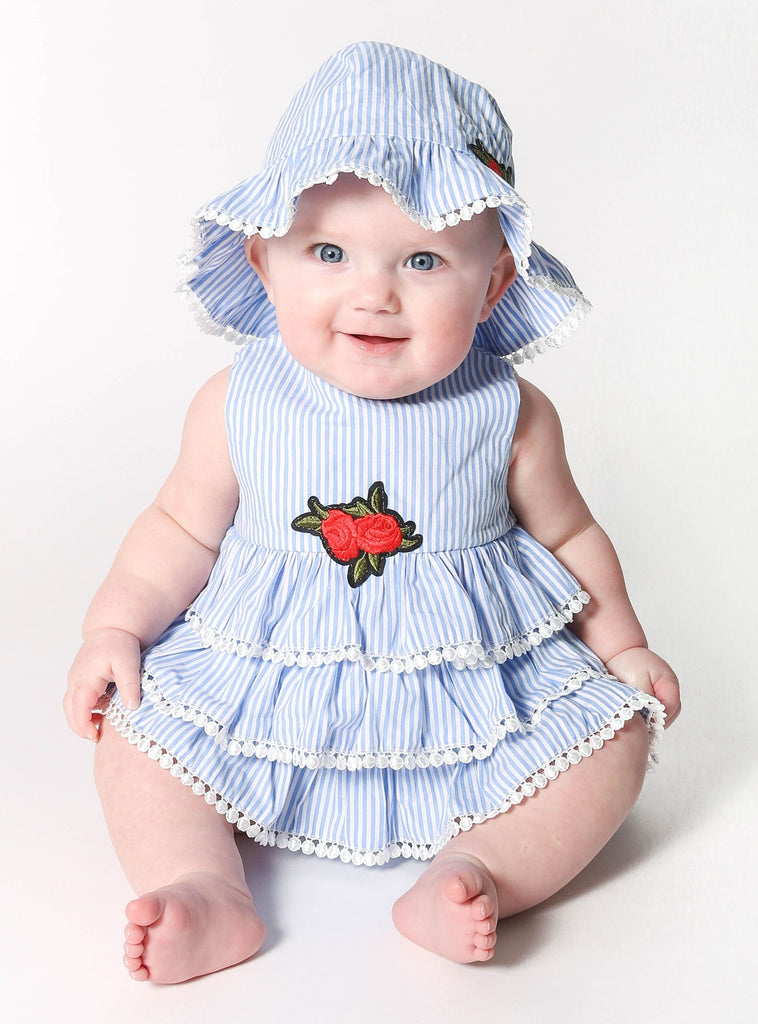 Popatu Baby Girls Blue Stripe Suit - Popatu pageant and easter petti dress