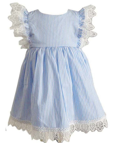 Popatu Little Girls Blue Stripe Dress - Popatu pageant and easter petti dress