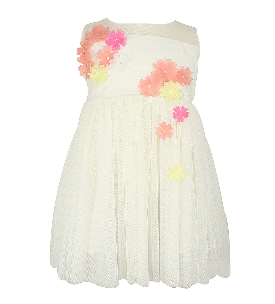 White Tulle Dress with Flower Petals - Popatu pageant and easter petti dress