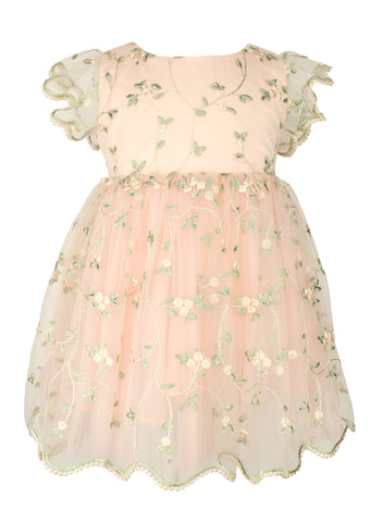 Popatu Baby Girls Peach Floral Dress - Popatu pageant and easter petti dress