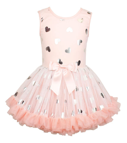 Popatu Little Girls Metallic Heart Petti Dress - Popatu pageant and easter petti dress