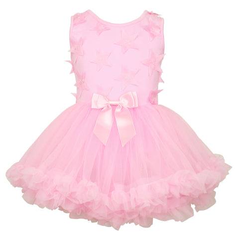 Popatu Little Girls Pink Star Petti Dress - Popatu pageant and easter petti dress